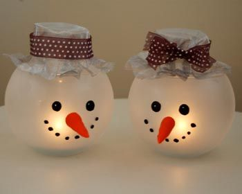 Cute snowman votive holders from a dollar store fishbowl sprayed with frosted glass spraypaint and then painted faces (use glass paint...nose can be sculpted from polymer clay)