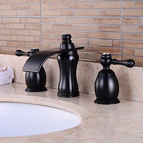 Wovier Oil Rubbed Bronze Waterfall Bathroom Sink Faucet Two Handle