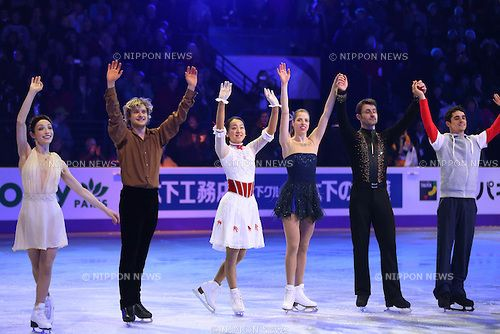 (L to R) Meryl Davis & Charlie White (USA), Mao Asada (JPN), Carolina Kostner (ITA), Brian Joubert (FRA), Javier Fernandez (ESP), .March 17, 2013 - Figure Skating : .ISU World Figure Skating Championships 2013 Exhibition .at Budweiser Gardens, London, Canada. .(Photo by Daiju Kitamura/AFLO SPORT)
