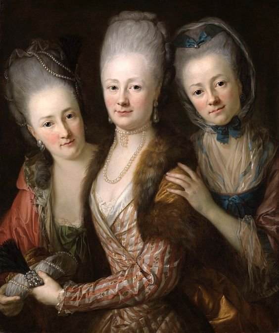 "Group portrait of the daughters of Johann Julius von Vieth und Glossenau: Juliane Corline, Edle von der Planitz (1752-1832), Sophie Juliane Elisabeth, Gr""fin d'Agrollo (1748-1832) and Juliane Charlotte, Gr""fin von Todtleben (1754-1840) by Anton Graff. Christie's. See Group portrait of the daughters of Johann Julius von Vieth und Glossenau: Juliane Corline, Edle von der Planitz (1752-1832), Sophie Juliane Elisabeth, Gr""fin d'Agrollo (1748-1832) and Juliane Charlotte, Gr""fin von Todtleben (175"