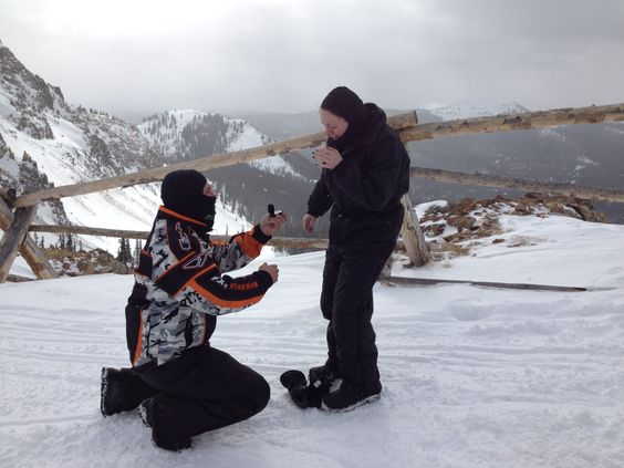 He proposed during snowmobile trip 11,000 feet in the mountains! In Colorado! I was so shocked! ❤