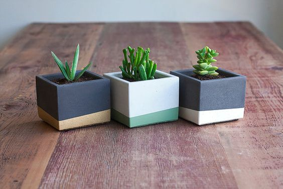 Color Block Concrete Planter 3 Square Charcoal and by NystromGoods