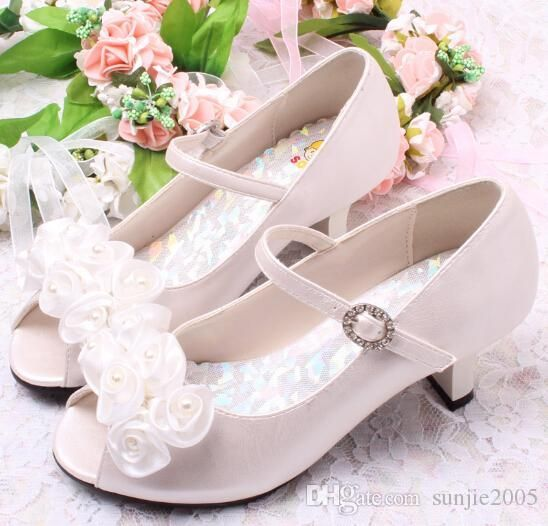 Good Quality Children White Flower Pearls Shoes Girls High Heel Sandals Kids Wedding Shoes Children S Girls High Heels Kids Dress Shoes Flower Girl Shoes Heels