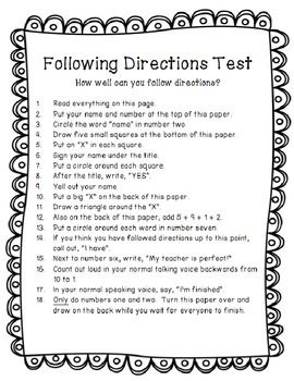 Following Directions Trick Test Activity - TPT Freebie | Teaching ...
