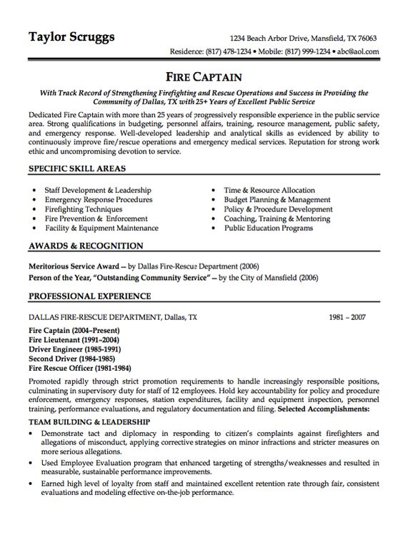 Sample Resume Fire Captain - http\/\/resumesdesign\/sample - asset protection specialist sample resume
