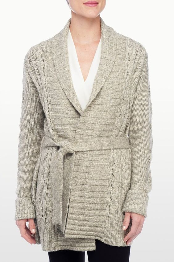 MARLED CABLE KNIT BELTED CARDIGAN