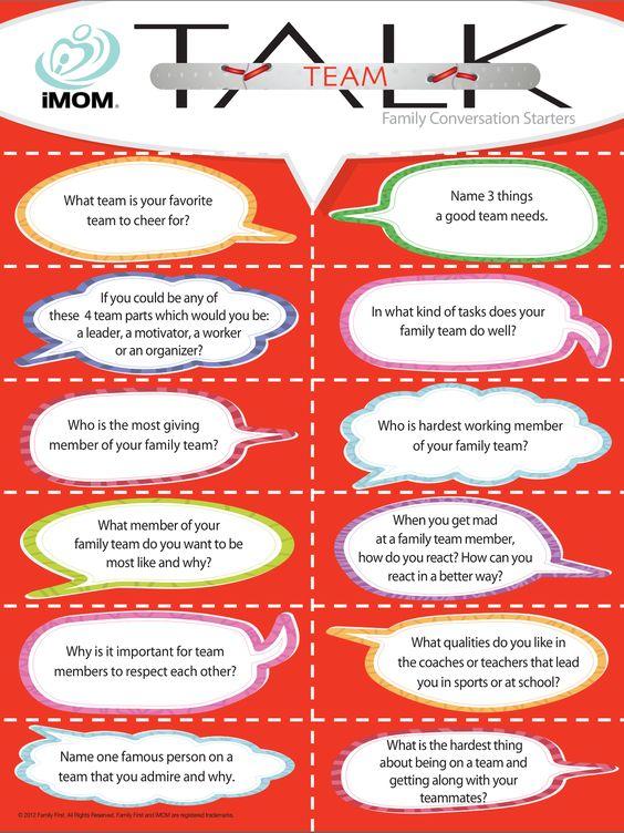 Team Talk, Conversation Starters