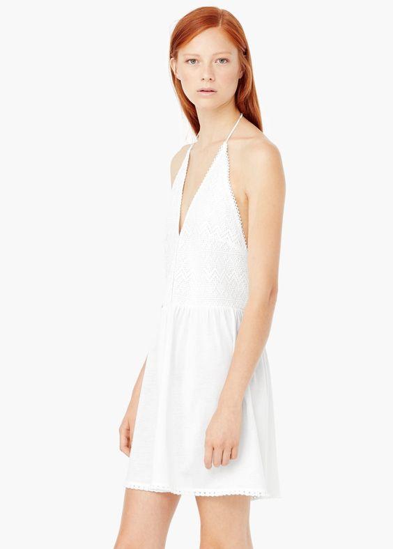 Crochet cotton dress - Dresses for Women | MANGO USA