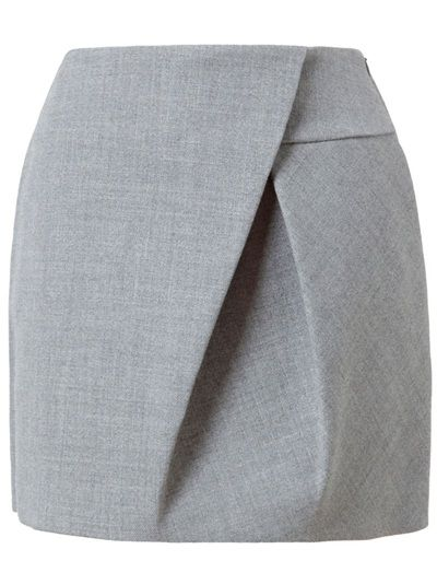 Grey wool miniskirt with asymmetric folding in the front from 3.1 Phillip Lim . Concealed side zip with hook and eye closure. Two hip pockets. Darts for shaping. Full silk lining. Dry clean only.