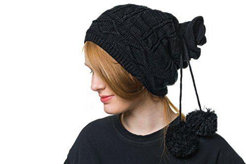 Shenky 2 In 1 Beanie Mutze Mit Bommel Schwarz 2 In 1 Mutze Mit 2 Bommel Kann Offen Und Geschlossen Getragen We Knitted Hats Fashion Accessories Winter Hats