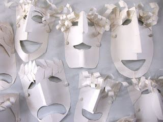 Greek tragedy masks and card stock on pinterest for Ancient greek mask template