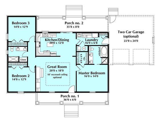 Southern Style House Plan 3 Beds 2 Baths 1629 SqFt Plan 44 171