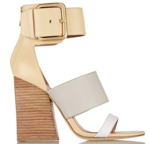 Sandales en cuir tri-color gris blanc beige sable a boucles doré à talon en bois, Sigerson Morrison