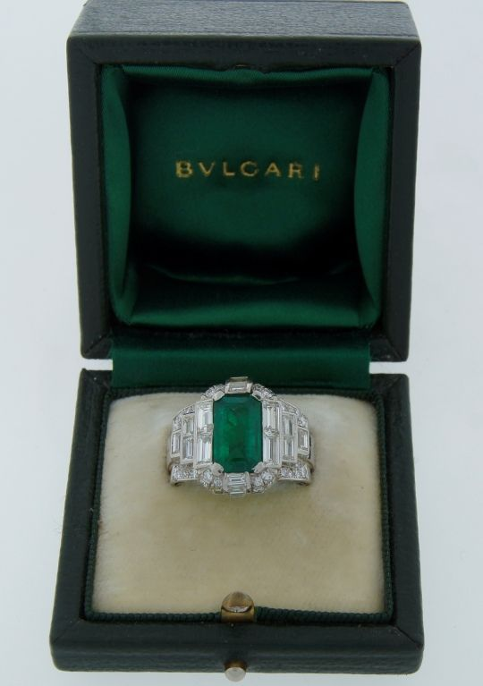 1960s Bulgari Emerald Diamond Platinum Ring | From a unique collection of vintage cocktail rings at http://www.1stdibs.com/jewelry/rings/cocktail-rings/
