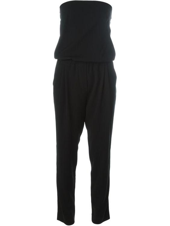 Nili Lotan strapless tapered jumpsuit, Women's, Size: Medium, Black, Polyester