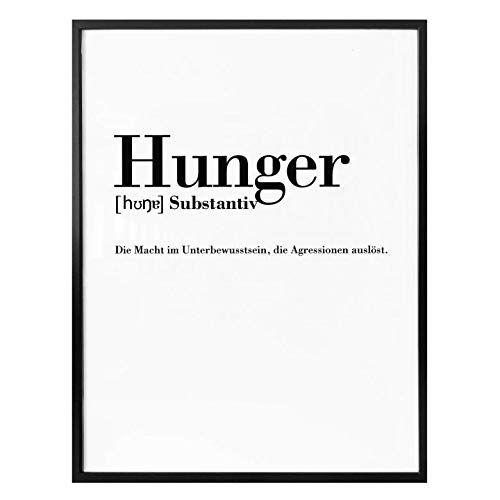 Poster Grammatik Hunger Typografie Spruch Definition Essen Duden