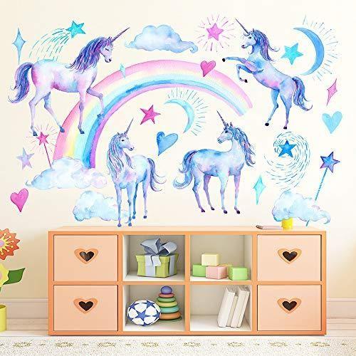 Buy Seliem Unicorn Wall Decals Peel And Stick Unicorn Rainbow Vinyl Wall Stickers Removable Decals For Girls Bedroom Kids Room Nursery Unicorn Wall Art Home D In 2021 Unicorn Wall Decal