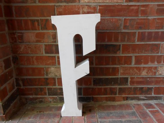 Large Reclaimed Metal Sign Capital Letter F White by FindingGreat, $59.00