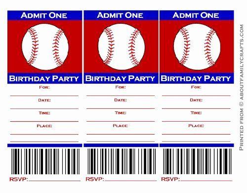 Baseball Ticket Invitation Template Free Best Of Baseball Ticket