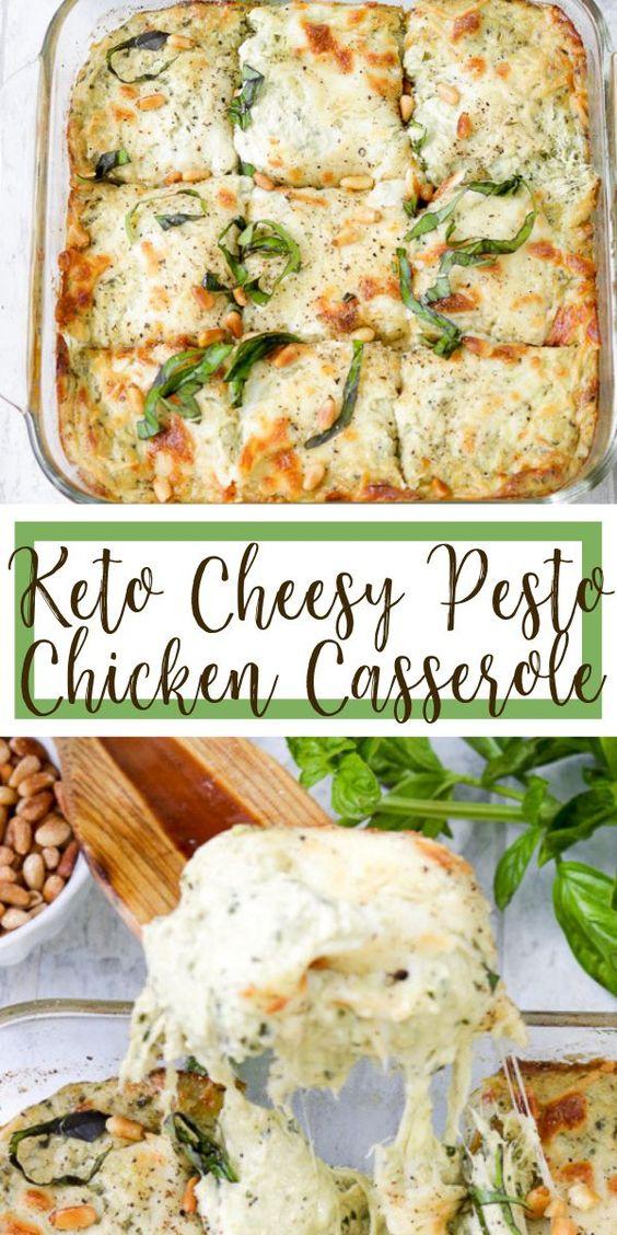 Keto Cheesy Pesto Chicken Casserole • Farmstead Chic