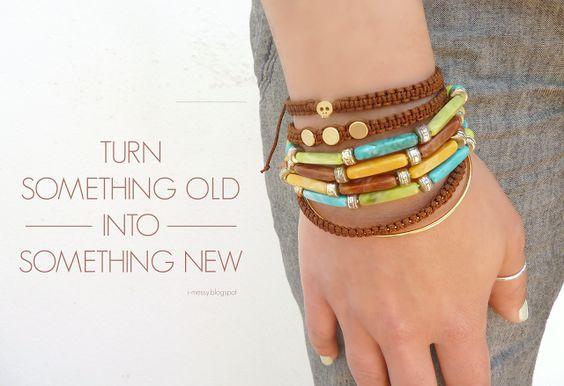 i-messy: Broken necklace? Make into a pretty bracelet