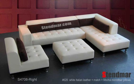 Welcome to Stendmar.com 4pc Modern leather sectional sofa chaise chair ottoman set S470