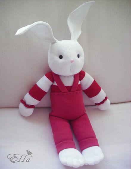 Bunny Toy White Soft Rabbit   Handmade sock toy White by ellidia, $27.00