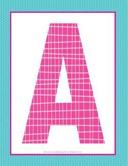 alphabet letter a - plaid and polka dot