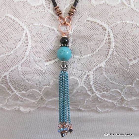 Turquoise and Black Gemstone Chain Tassel Necklace (24,530 MYR) ❤ liked on Polyvore featuring jewelry, necklaces, turquoise gem necklace, black gemstone jewelry, black chain necklace, gem jewelry and chains jewelry