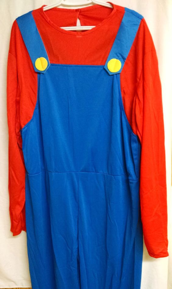Halloween Adult Men Super Mario Luigi Brothers Costumes Jumpsuit Cosplay-XXL