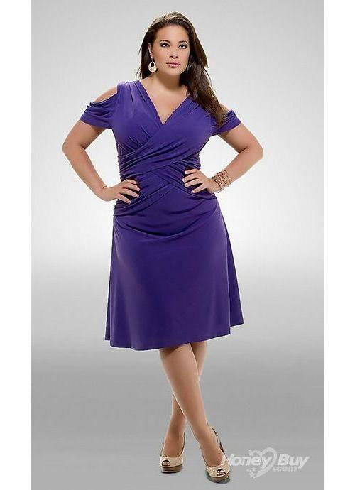 purple short sleeve v neck v back chiffon casual plus size ...