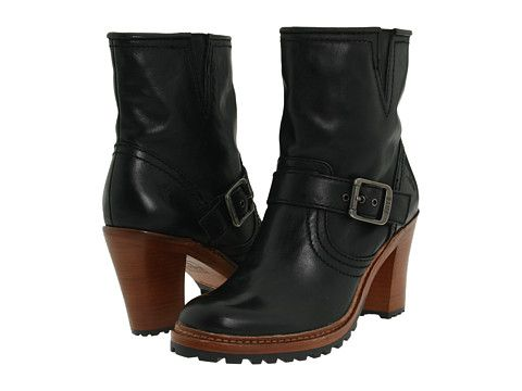 Frye Lucy Engineer Black Burnished Antique Leather - 6pm.com