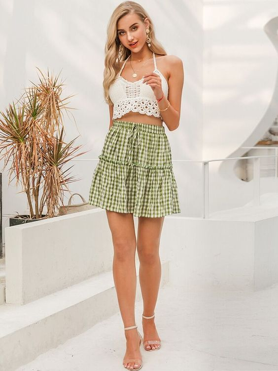Tie Waist Frill Trim Gingham Skirt | SHEIN UK