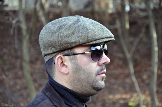 Brown tweed news boy hat / 1950s style paper boy cap / Gatsby cap / stage photo prop / gift for him