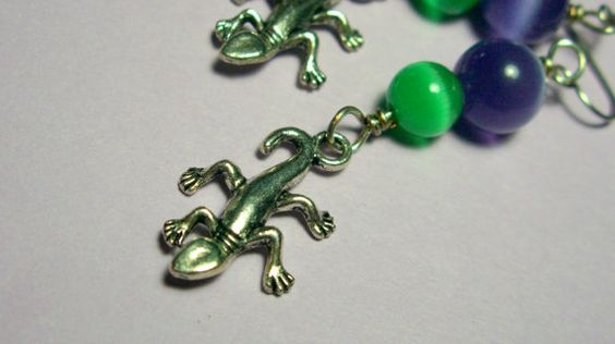 Gecko Earrings Mexican Opal Hypoallergenic by KrystalzKreations, $8.00