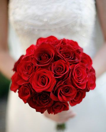 This striking bouquet would be a great DIY option.  Roses come in a variety of colors and are available year-round at GrowersBox.com!: Red Rose Wedding Bouquet, Red Rose Bouquet, Wedding Bouquets Red Roses, Wedding Bouquets Roses Red, Red Wedding Bouquet, Red Bridesmaid Bouquet, Red Bridal Bouquet, Bridal Bouquets Red Roses