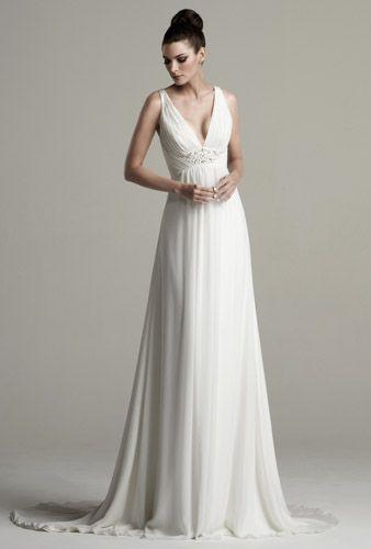 Goddess style wedding dress v neck front and criss cross for Goddess style wedding dresses