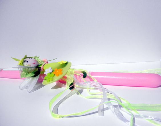 Greek easter candle fairy lambada pink easter lampada a greek easter in pink colour decorated with a little fairy in green color a beautiful godmothers or godfathers gift to their god daughter negle Gallery