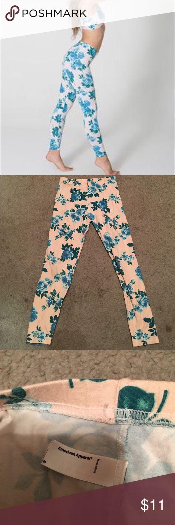 Floral Printed American Apparel Leggings American Apparel leggings in pink and blue floral rose print. Had for a long time but has no obvious flaws. Size: S. American Apparel runs small. American Apparel Pants Leggings