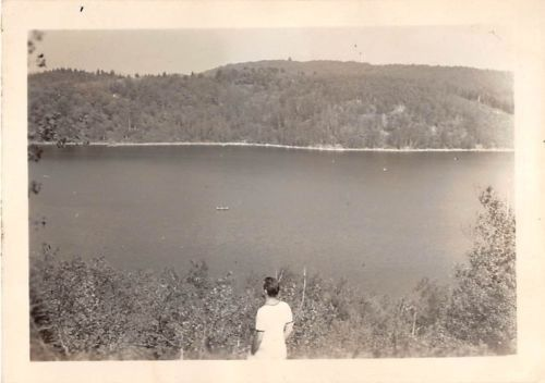 Black and White Vintage Snapshot Photograph Man River Forest View 1950's