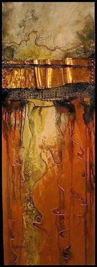 "Daily pintores abstractos Galería: Medios Geológico Abstracta Mixta Pintura ""Fusion III"", de Colorado Técnica Mixta artista Carol Nelson"