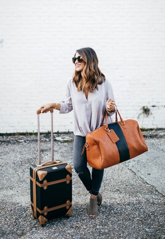 travel outfit, travel style, haute off the rack, peep toe booties, cute travel bags, women's fashion, @express denim, grey jeans, fall travel outfit, faux leather duffle bag