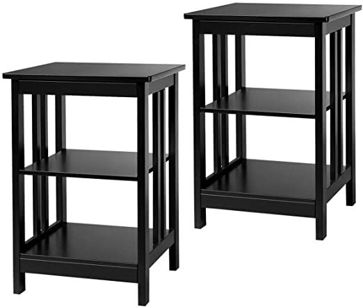 Mb Thistar Set Of 2 3 Layer Side Table Nightstand End Table Baffles Amp Round Corner Black In 2020 End Tables Sofa End Tables Modern Side Table