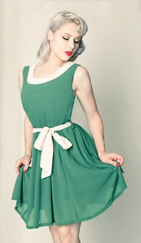 Vintage style green cream dress. Pinup style - Retro Style ...