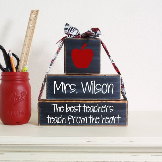 3- Block Stack The Best Teachers Teach From The Heart Custom Name-Painted Wooden Blocks-Country Decor-Shabby by DillweedDesigns on Etsy