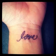 delicate tattoo wrist - love