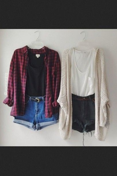 blouse flannel red and black hipster white denim shorts grunge high-wasted denim shorts soft grunge