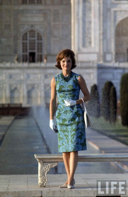 The regal and elegant First Lady Jacqueline Kennedy poses on the grounds of the Taj Mahal during her tour of India ~ March 15th, 1962