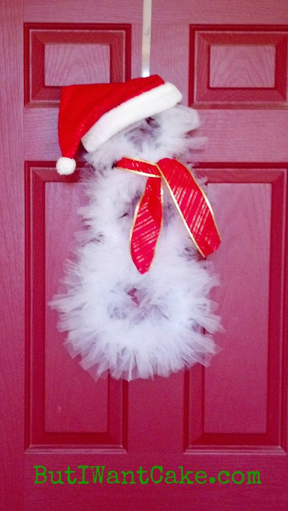 Tulle wreaths tulle snowman wreath tutorial but i want cake