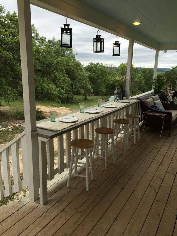Covered Porch Built In Counter Seating Rustic Porch Porch